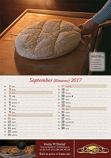 """Mesečni list koledarja blagovne znamke """"Kruh Stare Mame"""""""
